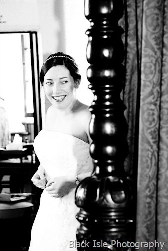the Bride in the Bridal suite at Castle Stuart near Inverness in the highlands.