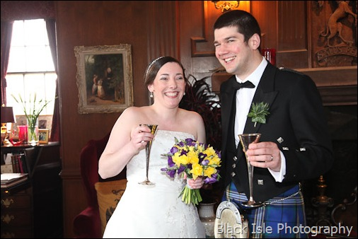 Drinks after the Wedding ceremony at Castle Stuart Inverness in the Highlands