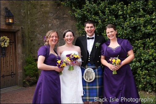 The Bridal party after the Wedding ceremony at Castle Stuart Inverness in the Highlands