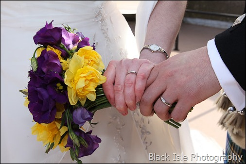 The flowers and rings after the Wedding ceremony at Castle Stuart Inverness in the Highlands