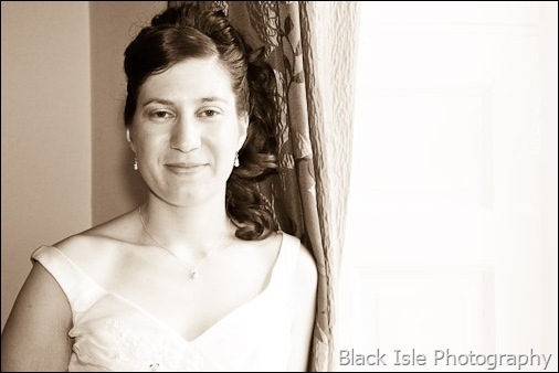 A Black and white photograph of the bride  at a highland wedding