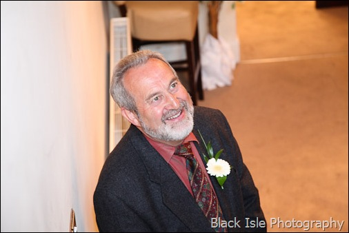 A photograph of the brides father at a highland wedding