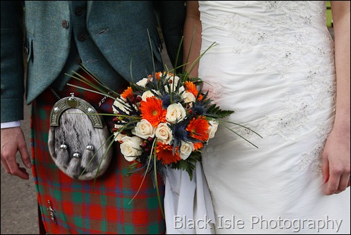 a wedding photograph of the bridal flowers at a highland wedding